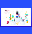 music party - modern isometric web banner vector image vector image