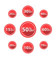 percentage off sale labels red color vector image vector image