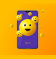 realistic detailed 3d sign in app yellow emoji vector image