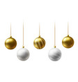 realistic gold and white christmas balls hanging vector image vector image