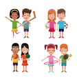 set kids sport player image vector image vector image