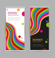 set roll up with bright rainbow line on black vector image vector image