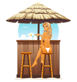 Sexy girl in beach bar vector image