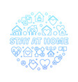 stay at home concept round blue line vector image vector image