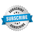 subscribe 3d silver badge with blue ribbon vector image vector image