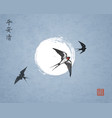 three swallow birds on night sky background vector image vector image