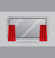 train window with red curtain isolated vector image