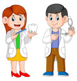 two dentist are holding tool for practicum vector image