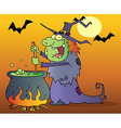 Ugly Witch Preparing A Potion In Halloween Night vector image vector image