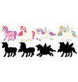 unicorn with its silhouette vector image vector image