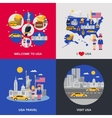 USA Culture 4 Flat Icons Square vector image vector image