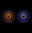 red and blue neon button icon vector image