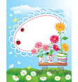 Summer frame with flowers in pots ladybirds and b vector image