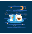 Baby background with sleeping bear vector image