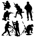 Armed Soldier Silhouette vector image