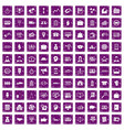 100 business group icons set grunge purple vector image vector image