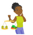 african-american woman weighing food and dumbbell vector image vector image