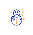 christmas snowman line icon new year sign vector image
