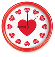 Clock with hearts vector image vector image