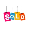 colorful hanging cardboard Tags - sold vector image