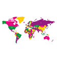 colorful map of world simplified map with vector image vector image