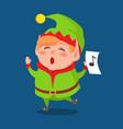 cute elf singing carol songs vector image
