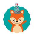 cute fox party hat birthday vector image vector image