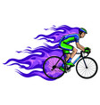 cyclist with flame silhouette vector image