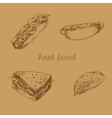 Fast food hand drawn set brown vector image vector image