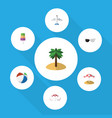 flat icon summer set of coconut parasol aircraft vector image vector image