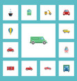flat icons truck streetcar automobile and other vector image vector image