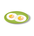 Fried eggs on a plate vector image