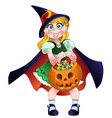 girl hold in her hands pumpkin with a candy vector image