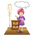 girl in bathrobe vector image