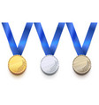 gold silver and bronze medal for winter sport vector image
