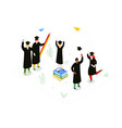 graduation concept - modern colorful isometric vector image