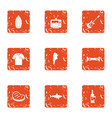 green party icons set grunge style vector image vector image