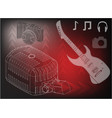 guitar microphone and camera vector image