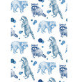 hand drawn seamless pattern with raccoons vector image
