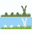 happy easter bunny and eggs in grass easter vector image vector image