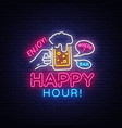 happy hour neon sign happy hour design vector image