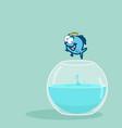 king fish jumping out of fishbowl vector image