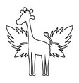 line silhouette giraffe with exotic leaves reserve vector image vector image