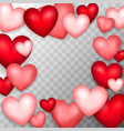 many hearts transparent background vector image vector image