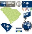 map south carolina us vector image vector image