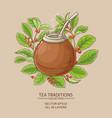mate tea in calabash vector image vector image
