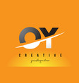 oy o y letter modern logo design with yellow vector image vector image