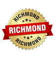 Richmond round golden badge with red ribbon vector image vector image