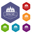 royal size icons hexahedron vector image vector image
