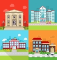 Set Municipal Buildings - City Hall Hospital vector image